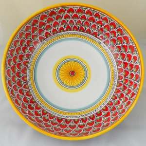 "BOWL ""PENNE DI PAVONE ROSSE""  FROM CM. 36"