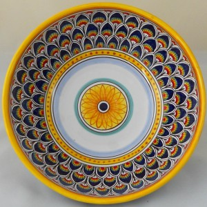 "BOWL ""PENNE DI PAVONE BLU""  FROM CM. 25"