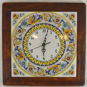 "CLOCK ""RAFFAELLESCO"" WITH WOODEN FRAME WORM-EATERN FROM CM. 38,5"