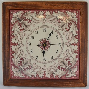 "CLOCK ""GIRALI FIORITI"" WITH WOODEN FRAME WORM-EATEN FROM CM. 37"