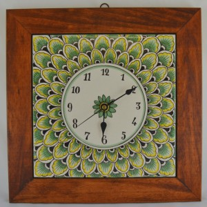 "CLOCK ""PENNE DI PAVONE VERDE"" WITH WOODEN FRAME CM. 34"