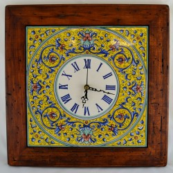 """CLOCK """"VOLUTE BLU FONDO GIALLO"""" WITH WOODEN FRAME WORM-EATEN FROM CM. 34"""
