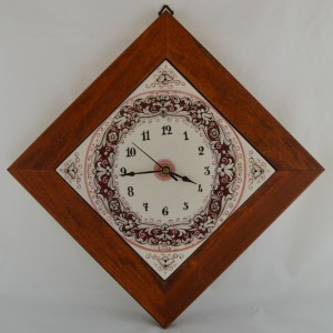 "CLOCK ""RICCO DERUTA FONDO ROSSO"" WITH WOODEN FRAME FROM CM. 28,5"