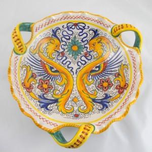 Scalloped centerpiece Raffaellesco with 3 handles from 30 cm